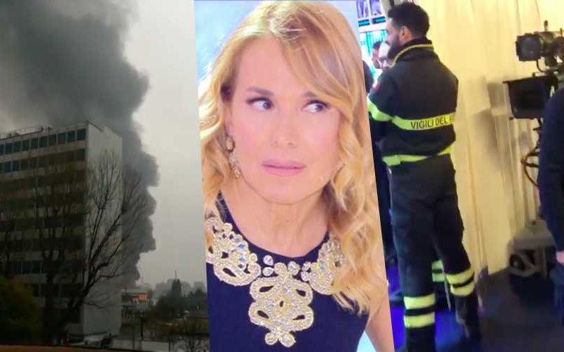 Incendio accanto agli studi di Domenica Live – Barbara d'Urso registra tutto