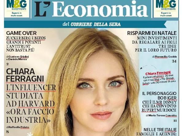 Chiara Ferragni in cover sul Corriere Economia: 'Orgogliosa di rappresentare il futuro dell'Italia'. Intanto a Los Angeles si gode la mamma, Marina Di Guardo, arrivata negli States