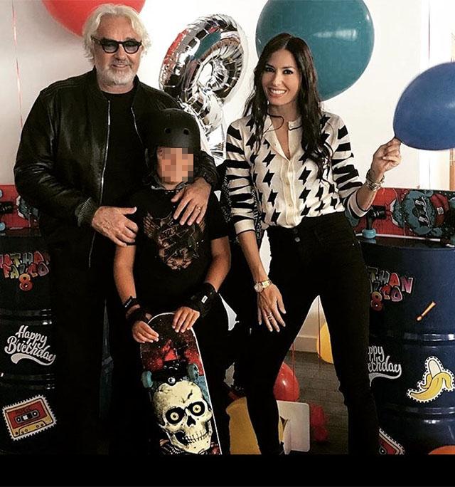 Elisabetta Gregoraci e Flavio Briatore insieme per il compleanno di Nathan Falco che ne fa 8: festa spettacolare per il figlio, i due sereni accanto al loro amore