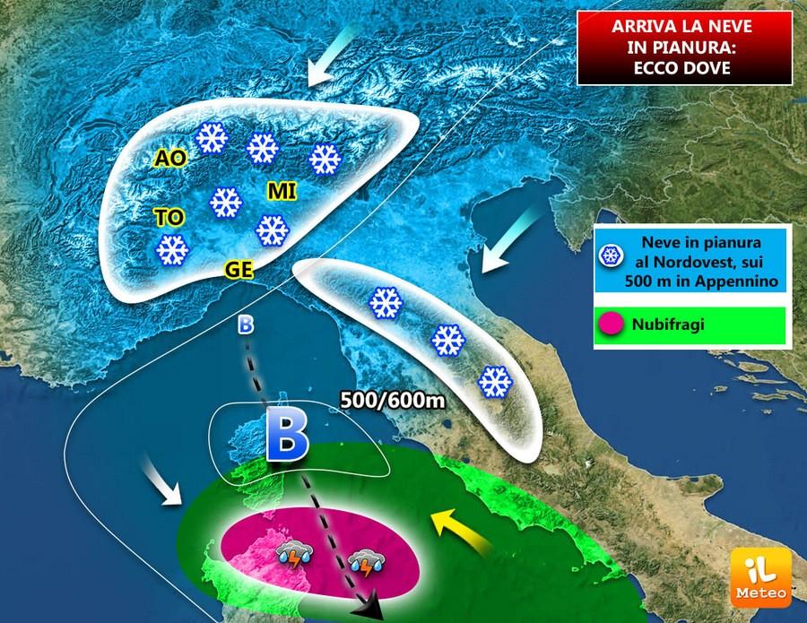 Meteo: vortice freddo sull'Italia, NEVE ANCHE IN PIANURA sul Nordest, a Bologna, Venezia, Padova, Treviso. Situazione e previsioni